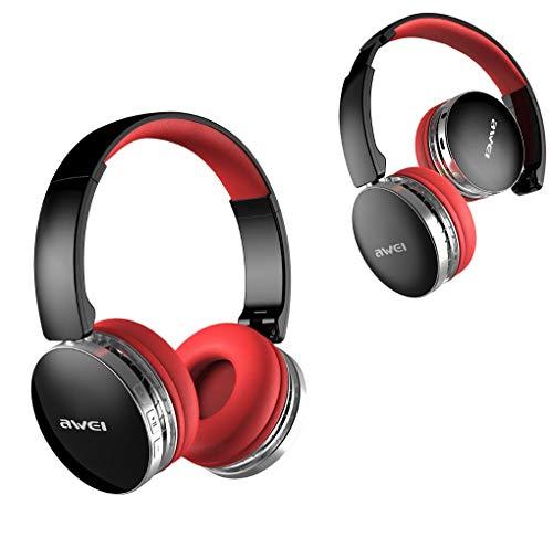 Star Awei A500BL Wireless oreillette Bluetooth, réduction du Bruit stéréo, 450 Heures de Veille, 8 Heures de Lecture, Pliable, système Audio, Casque,Red