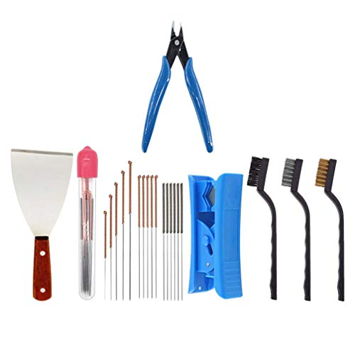 ibasenice 3D Printer Nozzle Change Removal Cleaning Tool Set 21pcs Cleaning Needles Scraper Spatula Palette Wire