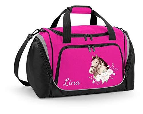 Mein Zwergenland Sporttasche Kinder personalisierbar mit Schuhfach, Kindersporttasche 39L mit Name und Pferdekopf mit Rosen Bedruckt in Pink