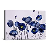 Bathroom Decor Canvas Wall Art Navy Blue Floral Natural Painting Prints for wall Framed Wall Decor Modern Artwork for living room Bedroom and Office Ready to Hang 12x16 inches