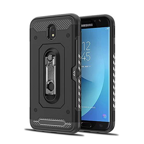 Hoes compatibel met Samsung Galaxy J7 2017 hoes ultralicht kickstand harde schaal telefoonhoes met 1 vakje kaarthouder flexibele silicone beschermhoes krasbestendig standaard cover