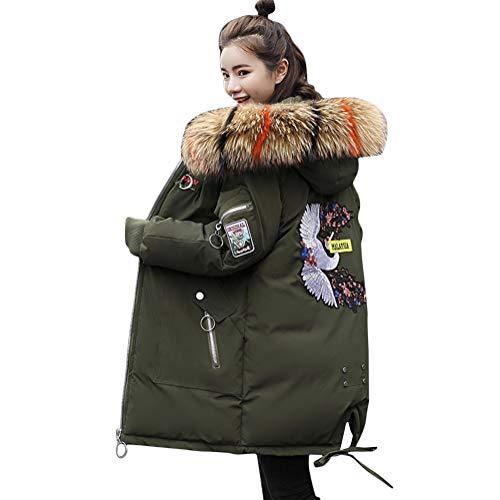 Minetom Damen Winterjacke Mantel Daunenjacke Lang Parka Jacke Winter Outwear Embroidered Fashion Pattern Wärme Mit Fellkapuze Grün 02 DE 44