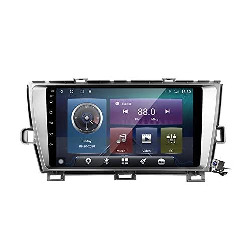 Gokiu Android 10 Autoradio Double DIN Car Stereo para Toyota Prius XW30 2009-2015 Soporta FM Am RDS DSP SWC 4G/5G WiFi/Unidad Principal De Navegación GPS/Carplay/Contiene Cámara,Plata,M100