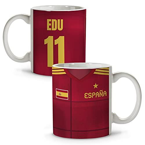 LolaPix Taza España. Tazas fútbol. Tazas Personalizadas con Nombre. Taza Desayuno fútbol. Regalos Personalizados. Varios diseños. ESPAÑA