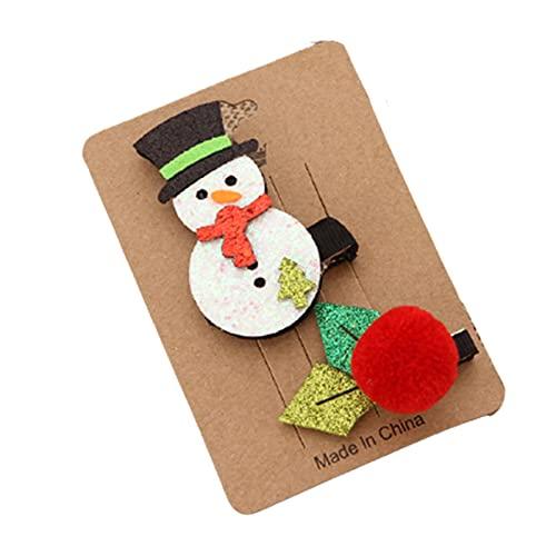lefeindgdi Pinzas para el pelo de Navidad, juego de horquillas, árbol de Navidad, ciervos de Papá Noel, pequeños adornos de regalo