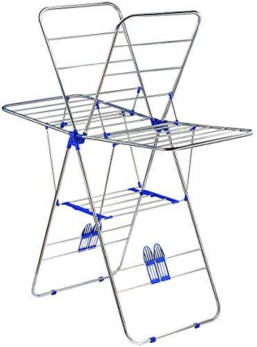 Style home Wäscheständer Flügelwäschetrockner Standtrockner klappbar Kleiderstange Kleiderständer Edelstahl (Silber)