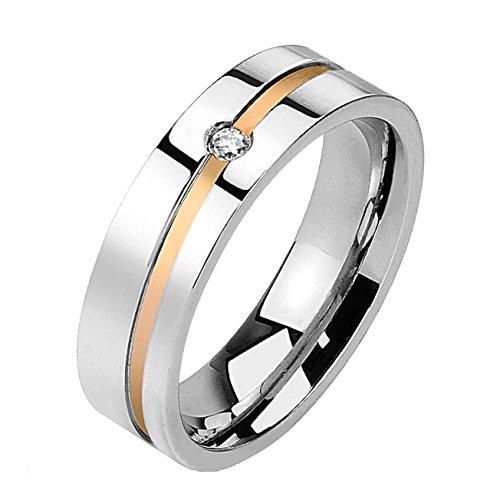 beyoutifulthings DIAGONALE-LINIE zirkonia helder band-ring chirurgisch staal 316L verlovingsring partnerring trouwring zilver 47(15)-69 (22)