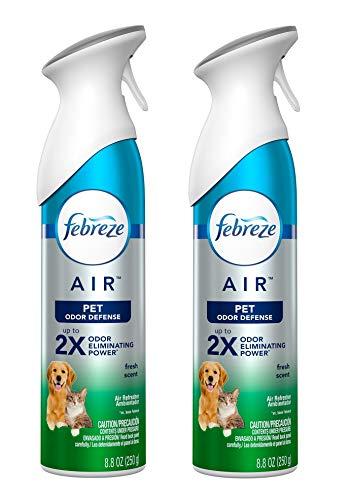 Febreze Air Freshener Spray - Pet Odor Defense - Fresh Scent - Up to 2X Odor Eliminating Power - Net Wt. 8.8 OZ (250 g) Per Bottle - Pack of 2 Bottles
