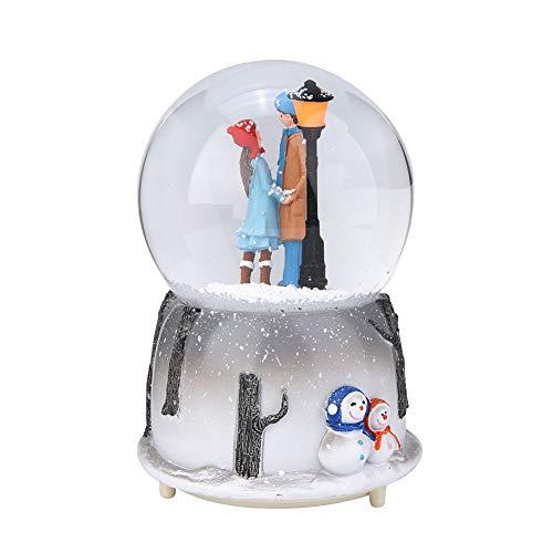 Musikalische Schneekugel, Plastik + Kristallburg im Himmel Spieluhr mit LED-Licht, Geschenke für Kinder, Jungen, Mädchen