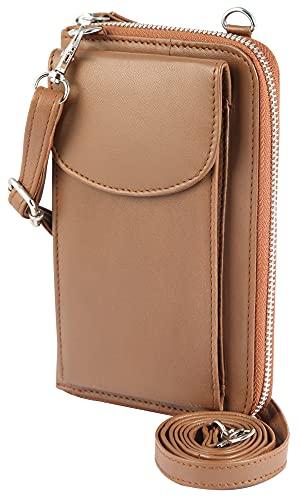 Akzent Funda para teléfono móvil con cartera, 19,0 x 11,0 x 5,4 cm, color marrón
