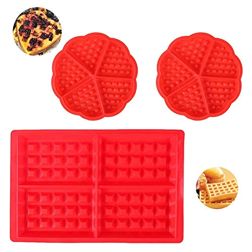 Molde para gofres, Molde Gofres Silicona, Moldes Waffle, Material antiadherente, cocina herramientas accesorios, Juego de 3 piezas