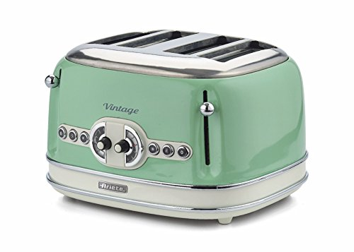 Ariete 0156/04 Retro Style 4 Slice Toaster with 2 Slice Control, 6 Browning Levels and Removable Crumb Tray, Vintage Design, Green