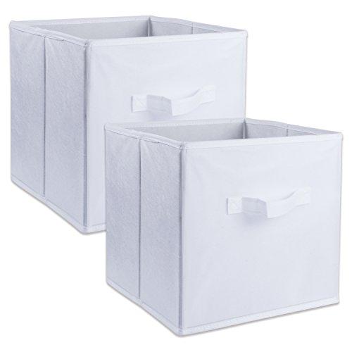 DII Cajas de Almacenamiento de Tela para guardería, oficinas, y organización del hogar, Blanco, Small - Set of 2, 1