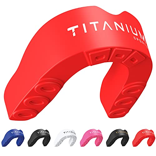 Titanium Sports Premium Mouth Guard - Slim Fit Sports Mouth Guard with Case - Gum Shield for Jaw Protection in Contact Sports - Durable Boxing, MMA, Judo, Karate, Rugby, Hockey, Football Mouthguard