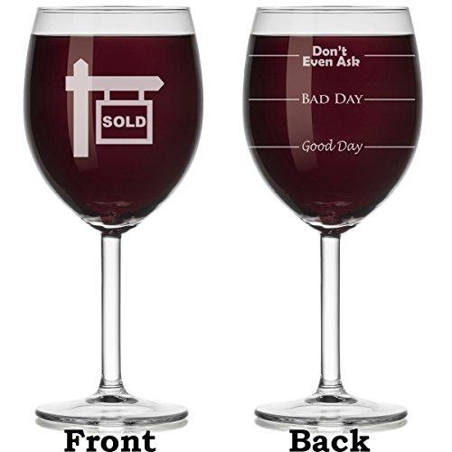 Wine Glass Mood Fill Lines Realtor Real Estate Agent Broker Sold (Stemmed, 10oz)