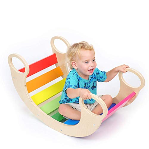 Wood Rainbow Rocker Board for Toddlers - Waldorf Balance Board - Rocking Fun Wooden Seesaw - Fun Colors in Child Safe Non-Toxic Paint - 33 x 18 Inches - 24M+
