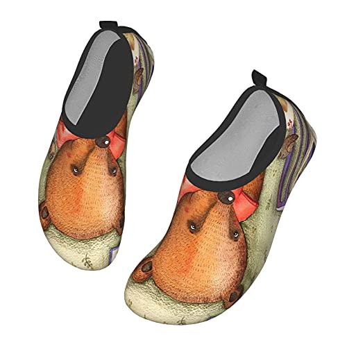 Nicokee Cute Bear Take Apart Embalaje Amarillo Zapatos Playa Aqua Yoga Calcetines para Hombres Mujeres Zapatos de Agua, color, talla 42.5 EU