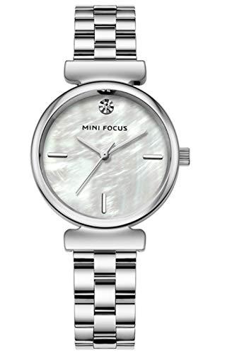 MLHXHX Moda Simple Femenina Reloj Movimiento japonés Correa de Acero Impermeable Silver