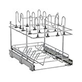 Household Essentials C1921-1 Glidez Pots and Pans Organizer Rack Pull Out Cabinet Shelf - Chrome Wire 2-tier cookware organiser Silver