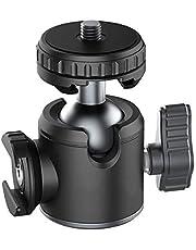 HAFOKO U-60L Mini-Aluminiumlegering 360 Graden Roterende Kogelkop met 1/4 Arca Swiss Cold Shoe Mount Voor Microfoon/Licht Draaibare Statiefkop Compatibel met DSLR-Camera's Video-Opnamen (laden:2-5kg)