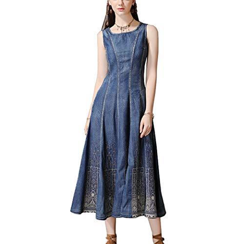 E-girl Damen Bestickt Swing Jeanskleid Ohne Arm Kleid,DDZ301,Blau,XXL