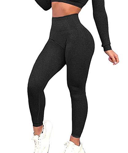 Yaavii Damen Sport Leggings Lange Blickdicht Yoga Leggings Figurformende Sporthose Yogahose Fitnesshose mit Hohe Taille Bauchkontrolle Schwarz2 S