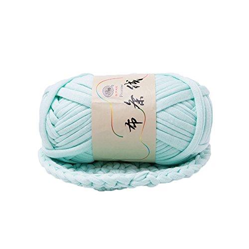 preliked Hand-Knit Woven Thread Thick Basket Blanket Braided DIY Crochet Cloth Fancy Yarn (Light Green)