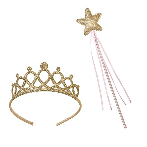 Talking Tables Accesorios de Princesa dress up para niñas, conjunto de diadema y varita 'We heart Pink.' Rosa y oro. Plástico y cinta.