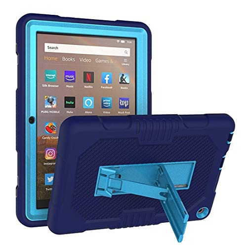 XHEVAT Tablet PC Cases For Amazon Kindle Fire HD 8 (2020) Contrast Color Silicone + PC Protective Case with Holder (Color : Navy Blue+Blue)