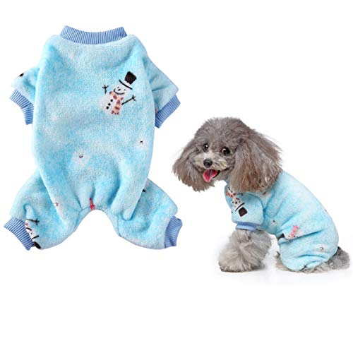 Vehomy Christmas Dog Pajamas with Snowman Pattern- Soft Coral Fleece Pet Winter Pajamas Dog Cat Onesies Jumpsuit Pjs Warm Sweater Clothes for Small Dogs and Cats Blue XL