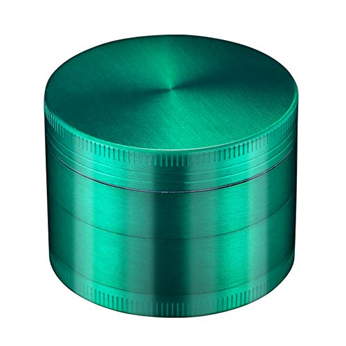 LIHAO 2 inch 4 Piece Spice Herb Grinder, Grinder For Herbs & Spices, Magnet Lid & 4 Pieces 3 Parts Designs, With A Pollen Catcher - Green