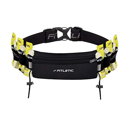 """Fitletic Running Belt   Patented No Bounce Pouch for Ironman, Triathlon, Marathon, Trail, 5K, 10K, Endurance, Cycling   N06-01 """"Ultimate I"""" Race Belt, Black"""