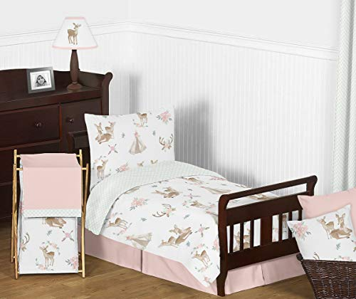 Sweet Jojo Designs Blush Pink, Mint Green and White Boho Watercolor Woodland Deer Floral Girl Toddler Kid Childrens Bedding Set - 5 Pieces Comforter, Sham and Sheets