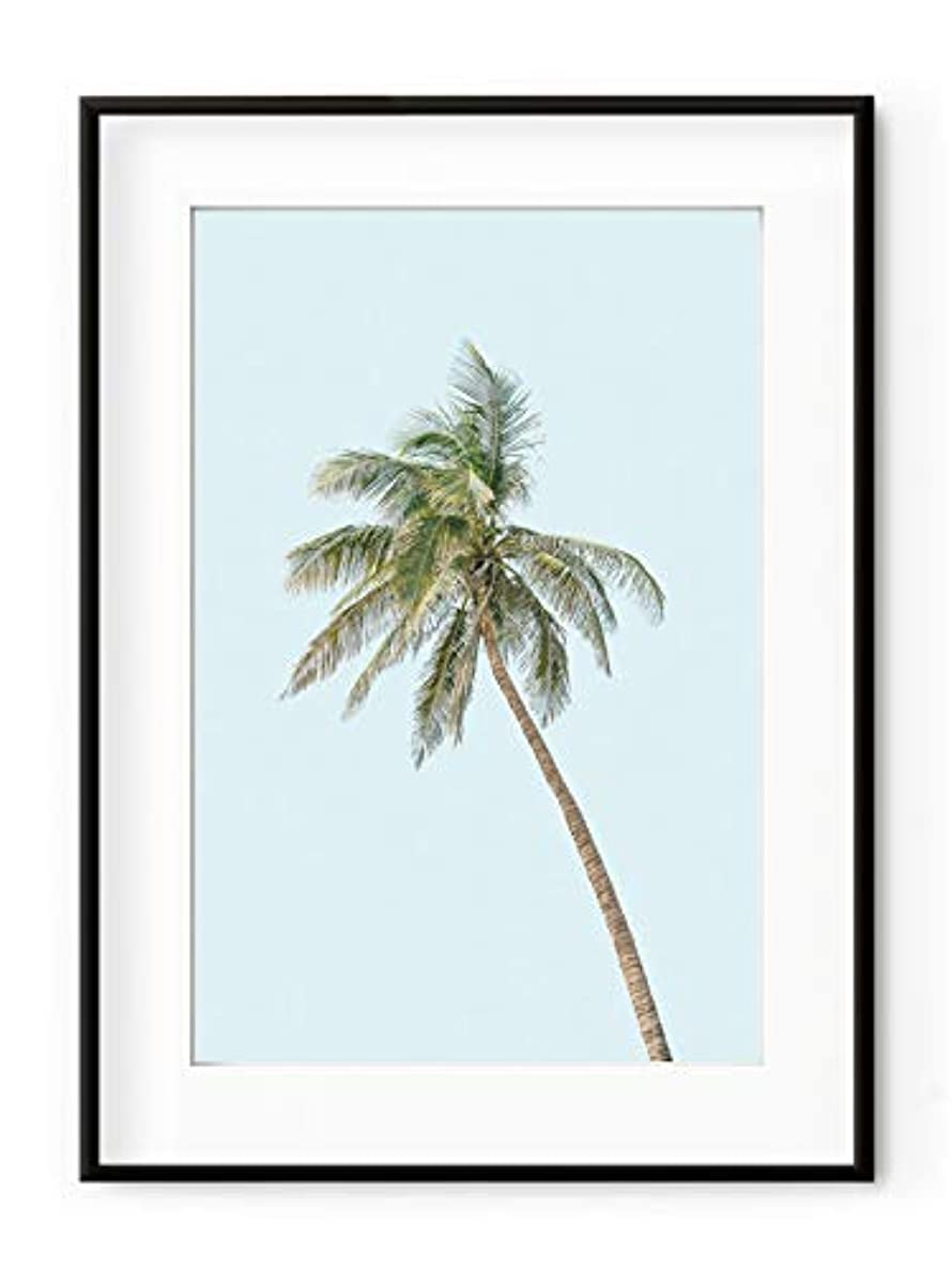 Coconut Tree White Lacquer Wooden Frame with Mount, Multicolored, 30x40