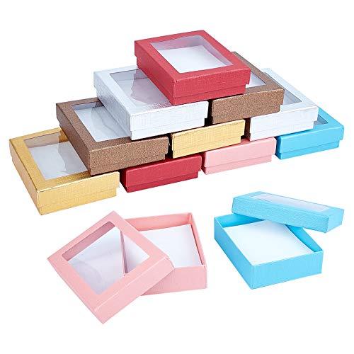 nbeads 約12個 9.1x7.1x2.4cm ギフト ボックス 長方形窓付き ラッピングボックス 紙箱 アクセサリー ネックレス プレゼント アクセサリー紙箱 アクセサリーギフトボックス 混合色