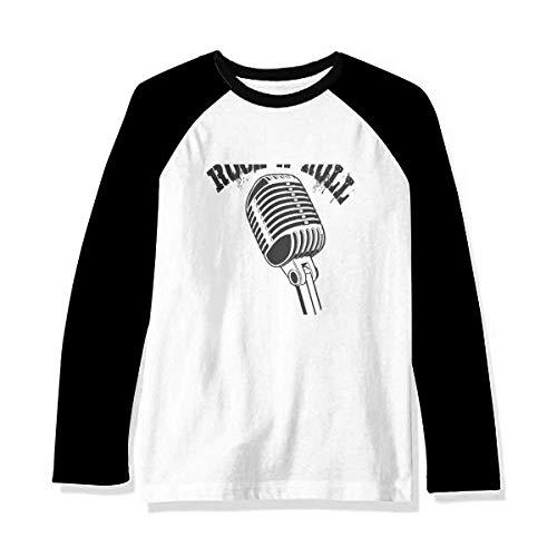 Microphone Illustrate Music Simple Pattern Camiseta de manga comprida Raglan, Multicor, S