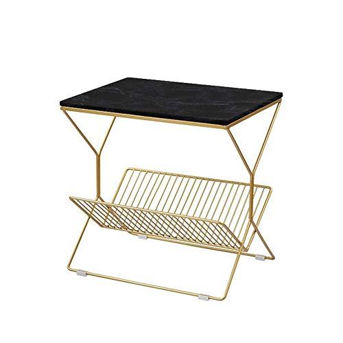 Mesa de cama, Tische Quadratischer Seitentisch / Endtisch / Nachttisch, mit Metallaufbewahrungskorb, MDF / Marmor-Tischplatte, 19.68 × 14,17 × 19.68 Inlwh Couchtisch Farbe: MDF Black, Größe: 19.6814.1