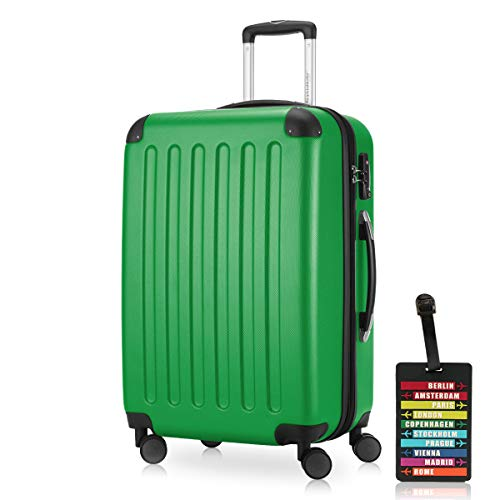 Hauptstadtkoffer - Spree, Luggage Suitcase Hardside Hard Shell Spinner Trolley 4 Wheel Case, TSA, 65 cm, 74 Liter, Green +Luggage tag