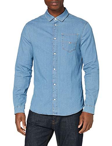 Tommy Jeans Herren TJM Stretch Denim Shirt Hemd, Aqua Blue Indigo, M