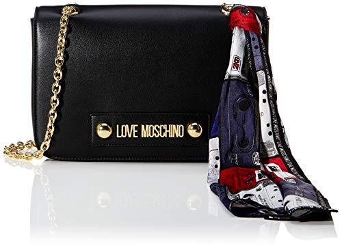 Love Moschino Borsa Small Grain Pu, Tracolla Donna, (Nero), 18x28x6 cm (W x H x L)