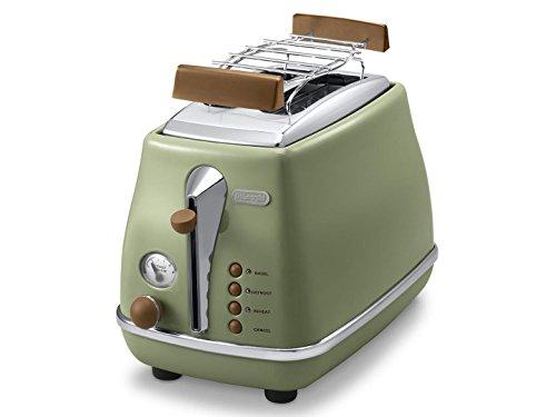 De\'Longhi Toaster Icona Vintage CTOV2103.GR - 2-Schlitz-Toaster mit Brötchenaufsatz, Edelstahl in elegantem Retro Look mit Chrom-Details, grün