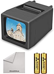 EASY TO USE: Our slide viewer is battery operated and it requires 2 AA batteries (included). You can then insert and press the slide and the picture will appear on the LED screen. Lightweight & Portable: This slide viewer is very compact, so so it's ...