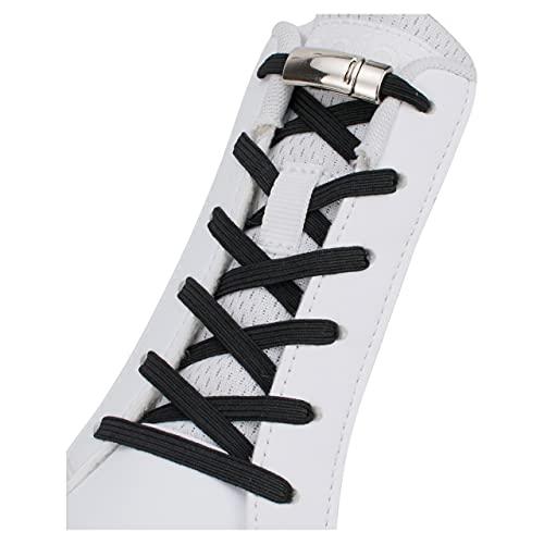 Sulpo, lacci in gomma elastica con chiusura magnetica in metallo, senza bisogno di legarli né di fare il fiocco, adatti per tutti i modelli di scarpe Nero Nero