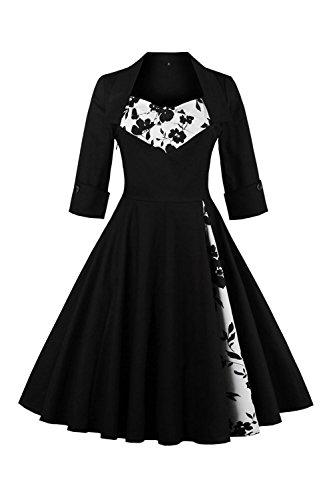 Babyonline Sommer Damen Polka Dots Kleider Vintagekleid Rockabilly Kleid Partykleider S-5XL, Schwarz mit Blumen, S