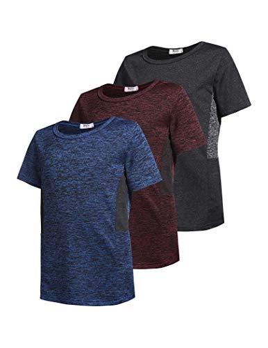 Boyoo Kinder Jungen Shirts Kurzarm Gym Bio-Baumwolle Short Sleeve Tee T-Shirt Einfarbige Active Athletic,3er Pack,Schwarz/Blau/Rot,S(140)