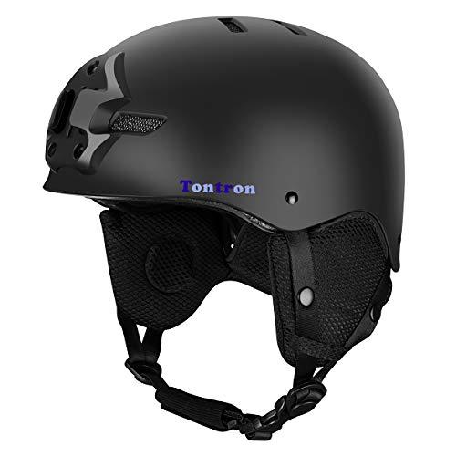Tontron Ski Snowboard Helm mit Kamera Mount Plate und Kopfhörer Tasche (Schwarz, L)