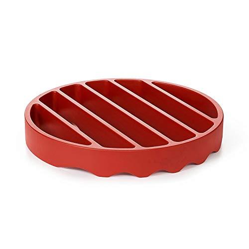 ZXVC Olla a presión de silicona, 18 cm, antiadherente, multifunción, olla a presión, accesorio para barbacoas (redonda), color rojo