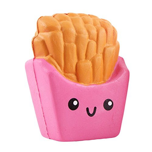 VORCOOL Squeeze Toys Jumbo Squishies French Fries Slow Rising Decompression Squeeze Scented Gift For Kids Adults(Pink)