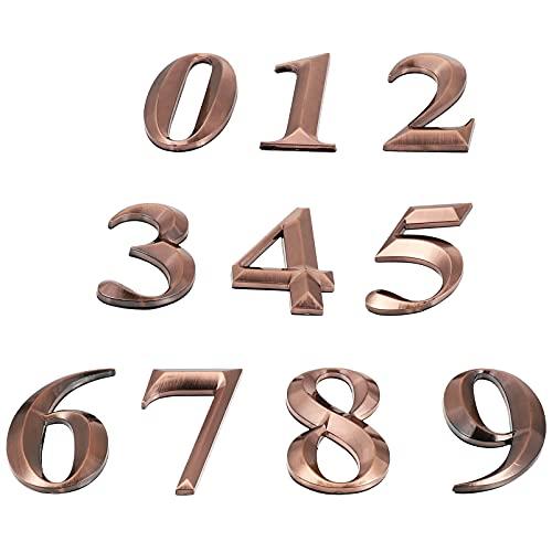 Yardwe 10 unidades de números de buzón autoadhesivo para puerta de casa, números de dirección de la calle, etiquetas engomadas de números para letreros de puerta de residencia, 7 cm