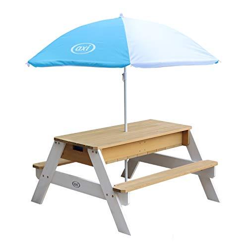 AXI Nick Kinder Sand & Wasser Picknicktisch aus Holz | Wasserspieltisch & Sandtisch mit Deckel und Behältern | Kindertisch / Matschtisch in Braun & Weiß mit Sonnenschirm für den Garten